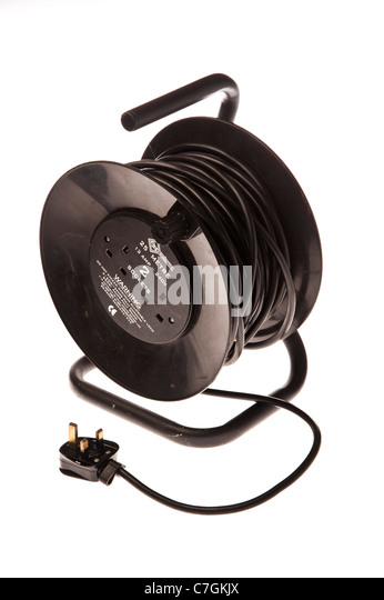 a black 25 metre 13 amp 240 volt extension lead power cord - Stock Image