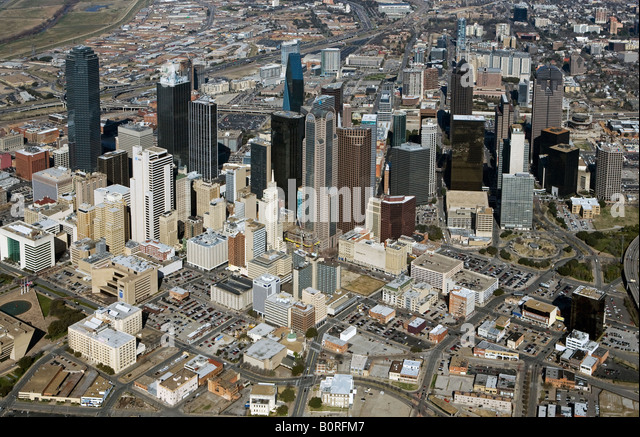 aerial above Dallas Texas skyline from southeast - Stock Image