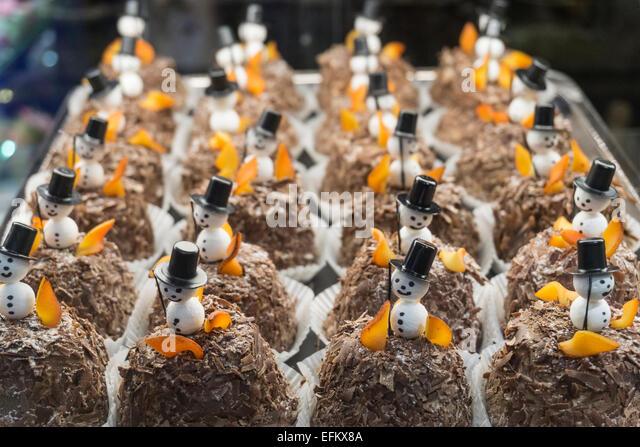 Confiserie Spruengli, Cute lucky cakes, Zurich, Switzerland - Stock Image