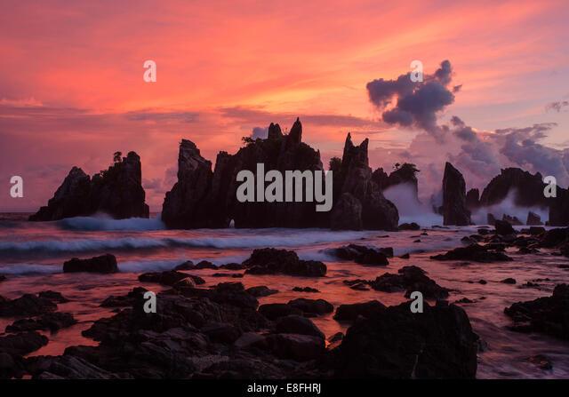 Indonesia, Sumatera, Lampung, Kelumbayan Beach at twilight - Stock Image