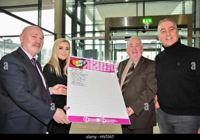 Armagh City, UK. 15th February 2017. West Belfast Sinn Féin Election Candidates during the Party launch Manifesto - Stock Image