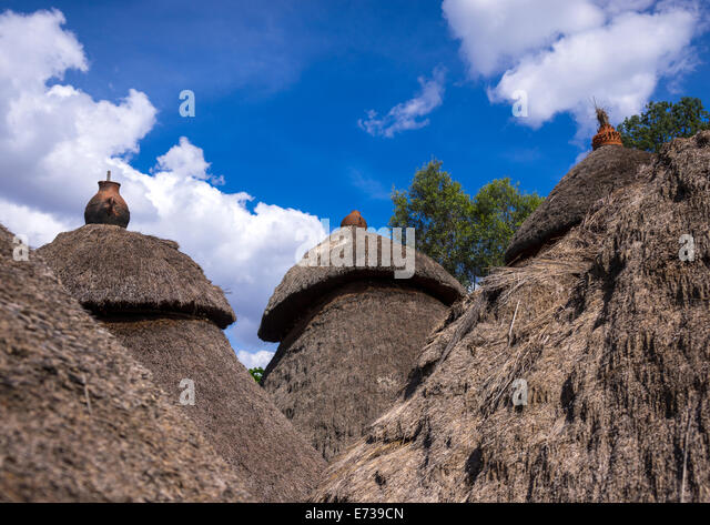 Konso Tribe Traditional Houses With Pots On The Top, Konso, Omo Valley, Ethiopia - Stock Image