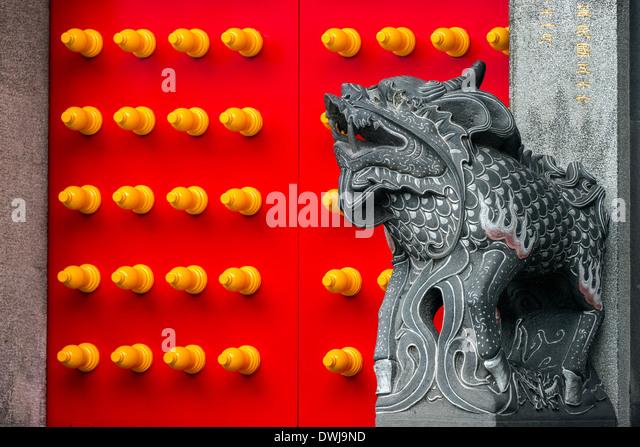 Qilin guarding central door of Hsing Tian Kong's Front Hall, Taipei, Taiwan - Stock Image