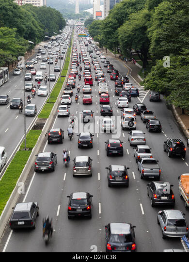 The city of Sao Paulo celebrates, on January 25, its 459th anniversary. Heavy traffic is expected on the main routes - Stock Image