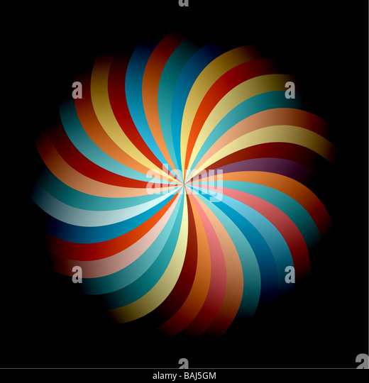 Colorful and vivid abstract flower on black background - Stock Image