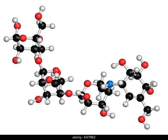 acarbose diabetes drug molecule chemical stock photos