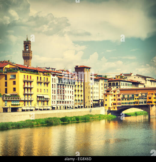 View of  Florence near Ponte Vecchio bridge, Italy - Stock Image