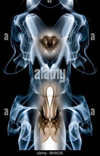 Abstract design made from swirls of smoke - Stock Image