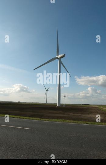 Wind farm in Cambridgeshire United Kingdom - Stock Image