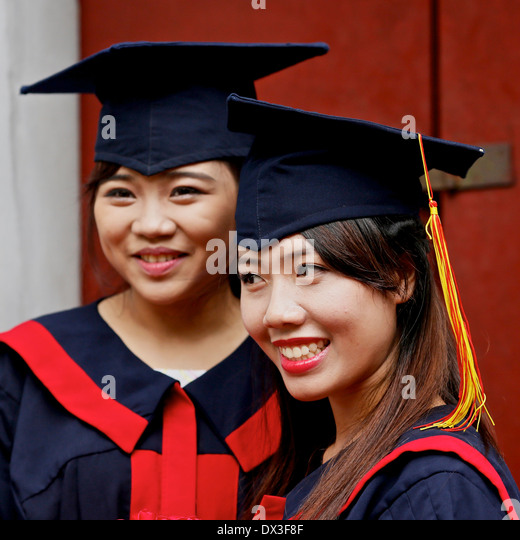 Students graduating from Vietnamese University celebrate at a ceremony held at the Temple of Literature. Hanoi, - Stock Image