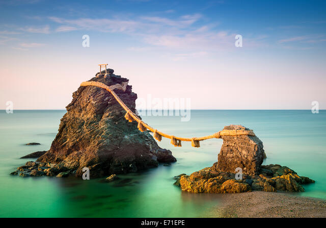 Meoto Iwa Rocks in Ise, Japan. - Stock Image
