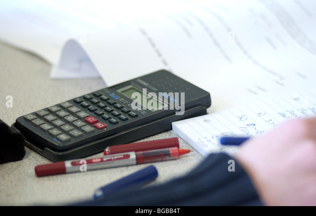 Photograph of maths calculator science office solutions numbers - Stock-Bilder