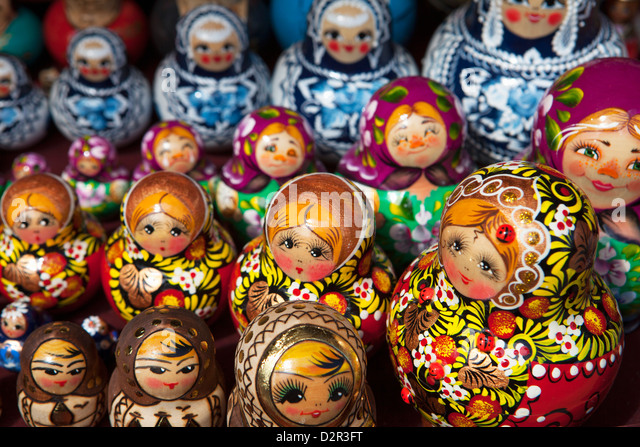 Decorative Russian dolls for sale, St. Petersburg, Russia, Europe - Stock Image