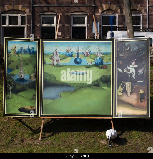 Triptych based on The Garden Of Earthly Delights by Heironymus Bosch by the River Binnendieze in 's-Hertogenbosch. - Stock Image