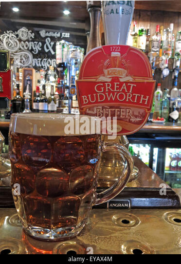 Pint of traditional ale in The George and Dragon Pub,Great Budworth Village,Cheshire,England,UK - Stock Image