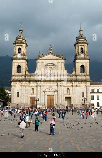 Catedral Primada on the Plaza de Bolivar Bogota Colombia - Stock Image