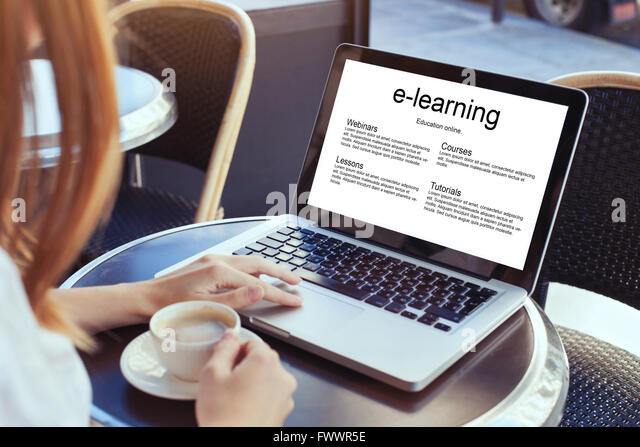 e-learning, education online concept, woman with laptop - Stock Image