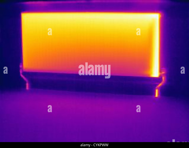 Thermal image of heating radiator - Stock Image