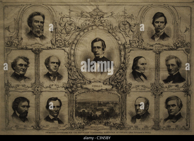Candidates for the Republican presidential nomination in Chicago. Wood engraving (1860). - Stock Image
