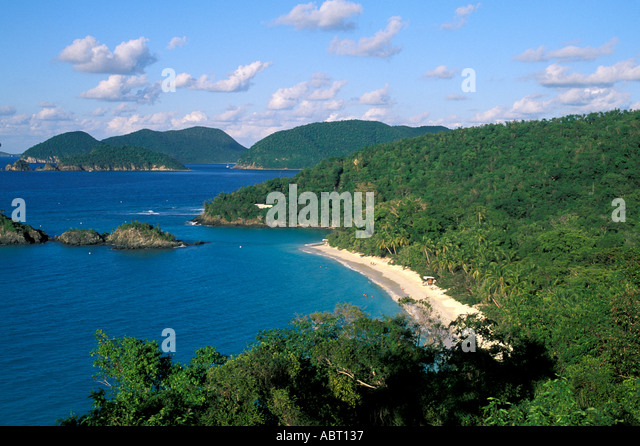 Caribbean St John U S Virgin Islands Trunk Bay - Stock Image