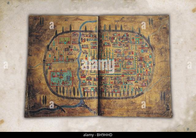 Miniature of Tebriz Iran by Matrakci Nasuh, Topkapi Palace Museum, Istanbul Turkey. - Stock Image