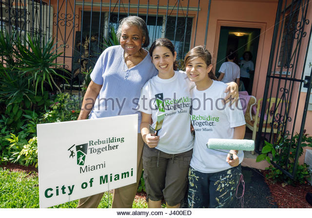 Miami Coconut Grove Florida National Rebuilding Day Rebuilding Together free home repair low-income owner low income - Stock Image