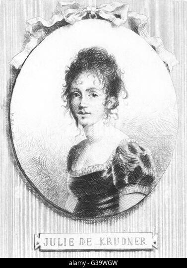 Barbara Juliana - usually  known as 'Julie' - KRUDENER  Russian writer, mystic,  prominent member of salon - Stock Image