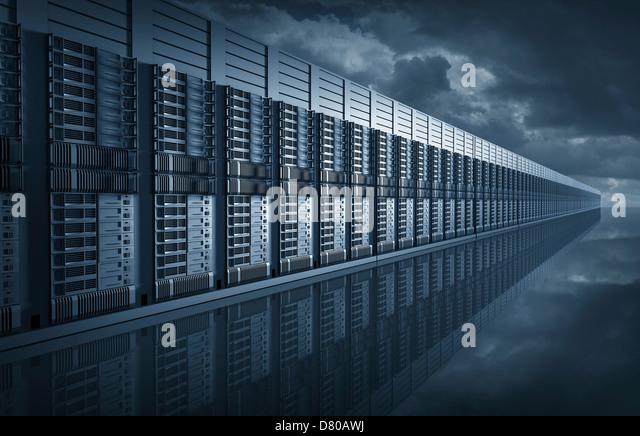 Digital illustration of endless server room - Stock Image