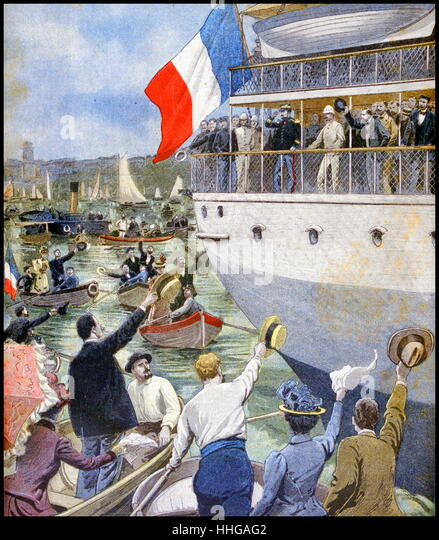 Departure of Colonel Marchand with French expeditionary forces to crush the Boxer Rebellion, in China. - Stock Image