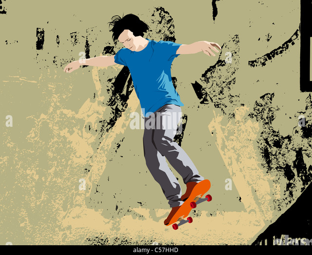 Young skateboarder jumping. Vector illustration with grunge background. - Stock Image
