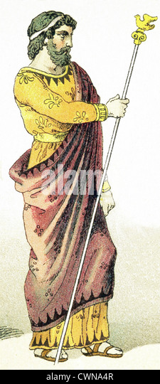 The ancient Greek represented here is a king. The illustration dates to 1882. - Stock Image
