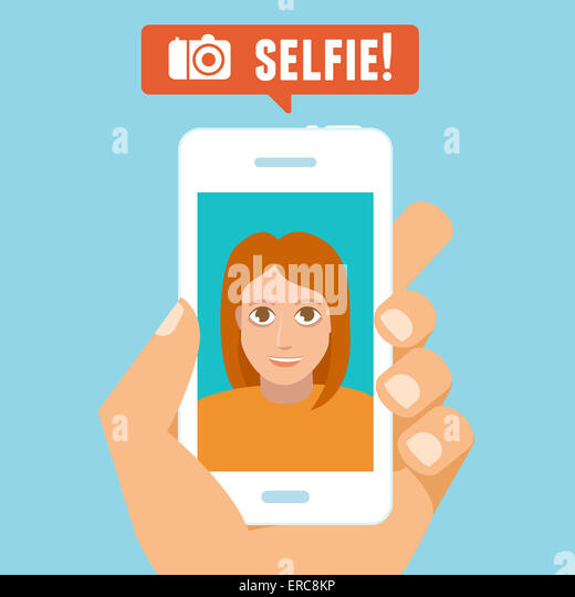 Selfie concept - flat character taking selfie by mobile phone - new technology concept - Stock-Bilder