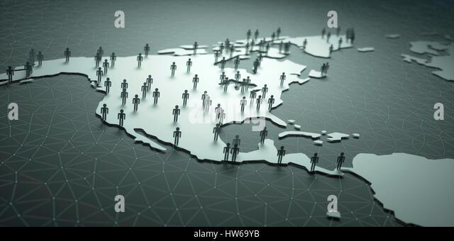 Map of North America, illustration. - Stock-Bilder