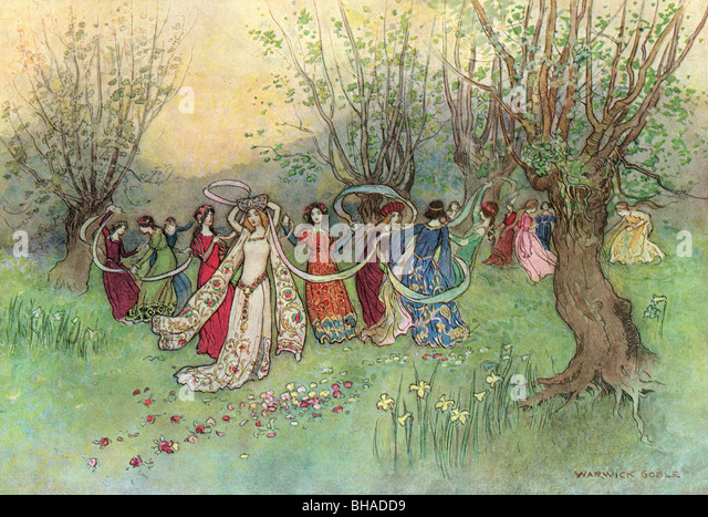 'The fairest company of ladies that ever man had seen', by Warwick Goble, from The Complete Poetical Works - Stock Image