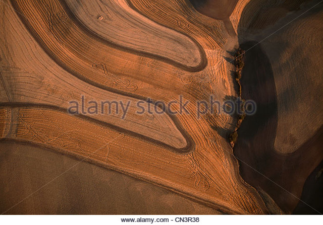 Aerial of wheatfields, Palouse, Washington, USA - Stock Image