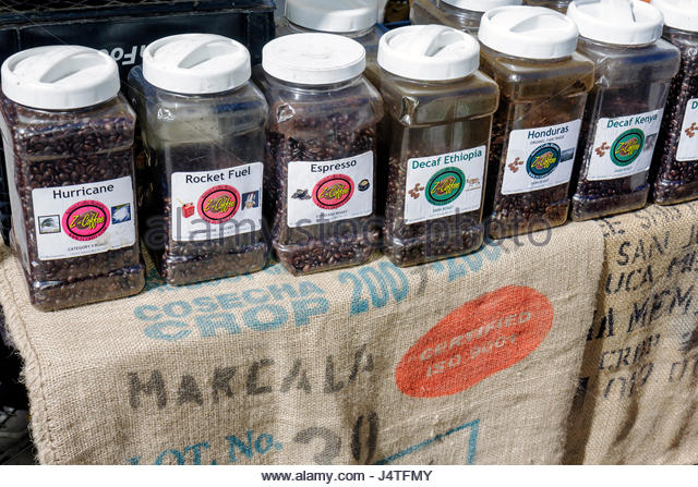 Winter Park Florida Farmer's Farmers Market shopping vendor gourmet Z-Coffee artisan roasters coffee whole beans - Stock Image