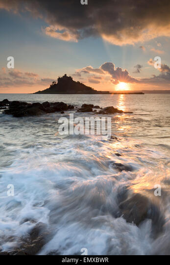 St Michael's Mount; Sunset From Marazion; Cornwall; UK - Stock Image