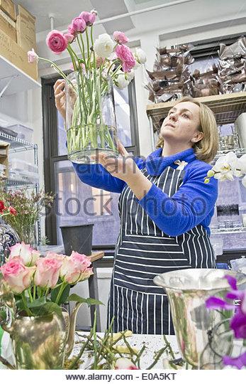 Floral designer checking vase of roses in studio - Stock Image