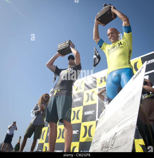 Sept. 20, 2012 - San Clemente, California, USA - KELLY SLATER, of Coco Beach Florida, won the 2012 Hurley Pro at - Stock Image
