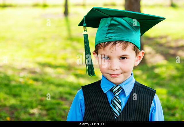 Portrait of Kindergarten graduate - Stock Image
