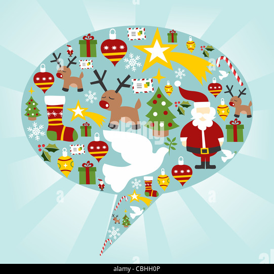 Xmas icon set in speech bubble shape background. Vector file available. - Stock-Bilder