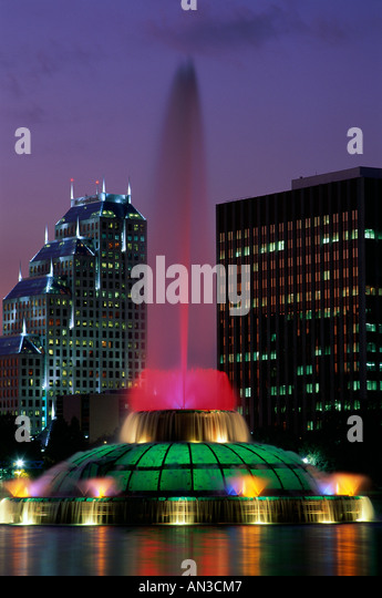 City Skyline / Lake Eola & Fountain / Night View, Orlando, Florida, USA - Stock Image
