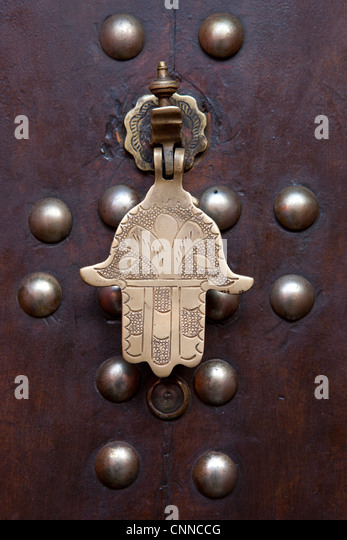 Door knocker in Marrakesh, Morocco - Stock Image
