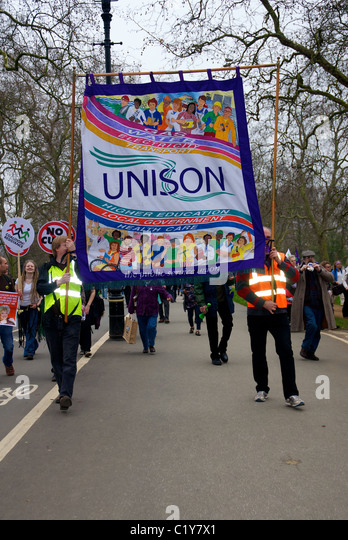 Marchers with Unison banner at March for the Alternative rally organised by the TUC, London, England - Stock Image