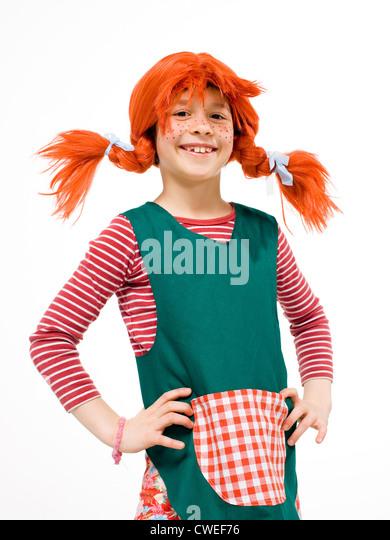 Berlin, girls dressed as Pippi Longstocking - Stock Image