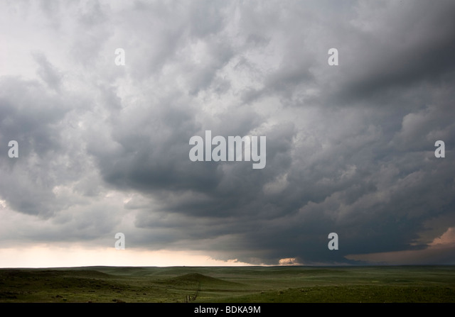 The lowered base and tail cloud of a storm in Goshen County, Wyoming, June 5, 2009. - Stock Image