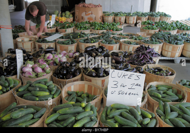 Nashville Tennessee Nashville Farmers' Market agriculture locally grown produce vegetables fresh cucumber eggplant - Stock Image