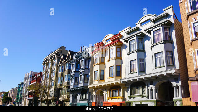 Colorful homes in San Francisco street - Stock Image
