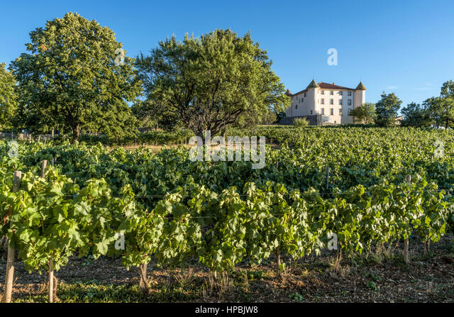Castle of Aiguines, French Chateau, Village of Aiguines, Lac de Sainte Croix, Provence, France - Stock Image