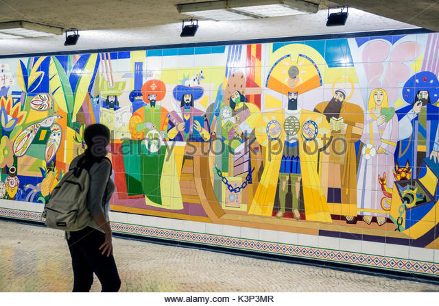 Lisbon Portugal Lisbon Metro Restauradores subway public transportation mass transit station tile mural Luiz Ventura - Stock Image